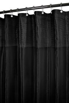 Watershed Tuxedo Pleat Shower Curtain in Black