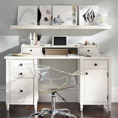 Genevieve Desk + Hutch // great white study space to keep you focused
