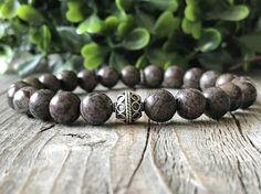 Sterling silver with gemstone bracelet men brown bracelet