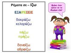 ρήματα σε ιζω εξαιρέσεις Learn Greek, Greek Language, Learning Process, Special Needs Kids, Kids Corner, Working With Children, Lessons For Kids, Primary School, Speech Therapy