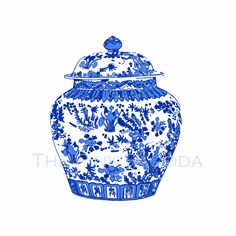 Blue and White Chinese Ginger Jar on White IKEA by thepinkpagoda, $30.00