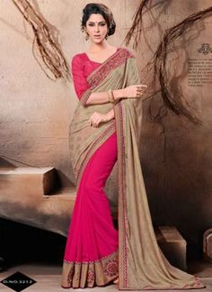 Lovable Magenta And Cream Viscose Boota Work Lace Border Sarees