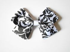 demask hair bow 4 inch hair bow girls black by SassyShugaBoutique