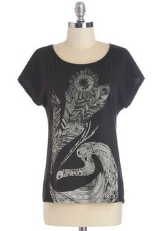 Off-duty Ornithologist Tee - Mid-length, Short Sleeve, Scoop Neck, Cotton, Black, Print with Peacock photo 1/4