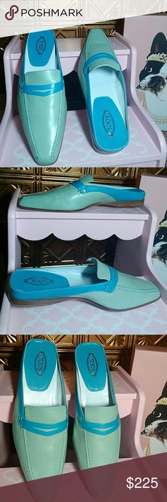 NEW!  Tod's Sabot Cuoio Elegante Donna Mules Authentic Tod's Leather Mule.  Color:. Green and Blue.   Size:. 10 (EURO 40).  Made in Italy W/BOX. Tod's Shoes Mules & Clogs