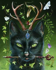 'When his eyes turn green.he shall be seen' - 8 x 10 Framed Acrylic Painting - Magic Cat, Black Cat Art, Black Cats, Pagan Art, Witch Cat, Painting Gallery, Warrior Cats, Cat Drawing, Whimsical Art