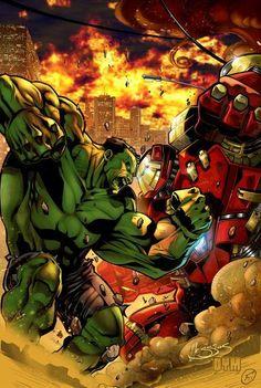 #Hulk #Fan #Art. (Hulk vs Hulkbuster) By:Osvaldo Ferreira. ÅWESOMENESS!!!™ ÅÅÅ+