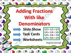 Adding Fractions With Like Denominators from Back to Basic Skills on TeachersNotebook.com -  (30 pages)  - Slide show, task cards, and worksheets all ready to help you teach adding fractions with like denominators.