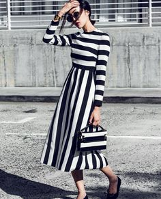 """Mondays never looked so good with @chrisellelim in a #FallWinter1516 total look. #optical #stripes #monochrome"""