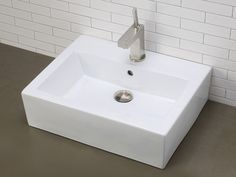 Rectangular White China Vessel With Faucet Hole - 1 Hole: SHOW THIS ONE FOR CUSTOM DESIGN?