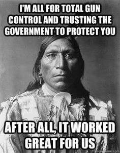 This is an image from Facebook of an native american warning against trusting the government because when the native Americans trusted the government it turned out bad for them.  This is individual vs government because the people who posted this are publicly warning and saying don't trust the government and spreading a message of anti government ideas.  This  is like a way of online protest.