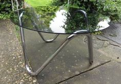 VINTAGE RETRO 1960s Original Chrome & Glass COFFEE TABLE