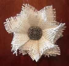 Primitive White Burlap Flower Rustic Wedding Shabby Chic Vintage Metal Set 3 NEW