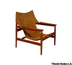 Wonderful Danish Teak Leather Sling Chair Att. Ole Gjerløv Knudsen | Chairs |  Pinterest | Teak, Leather Lounge And Modern Country