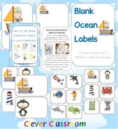 Ocean Themed Blank Classroom Labels - PDF fileUsually 48 pages, plus 15 page how to use...