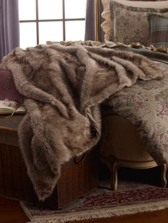 Margeaux Faux-Fur Blanket - Lauren Home Throws ... ultimate throw... I so want one as long as it's soft as can be  is all that matters to me.....please honey hit hit... please...