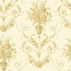 Fairwinds Studios Calantha Floral Urn Damask Wallpaper Beige - CW21507