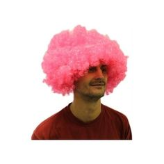 Brightly coloured wig; made with synthetic hair.
