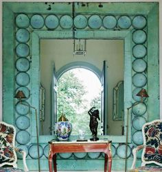PlumSiena: Enormous copper mirror with verdigris patina -- WOW!  From http://www.houseandgarden.co.uk/