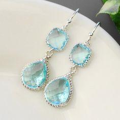 Aquamarine Earrings  Silver Blue Glass Drop by MyDistinctDesigns, $36.00