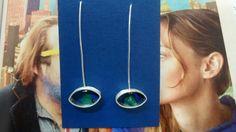 Earrings silver 925 raw emerald Milogis gallery Paris.