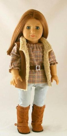American Girl Doll Clothes  Sherpa Vest Jeans by Forever18Inches