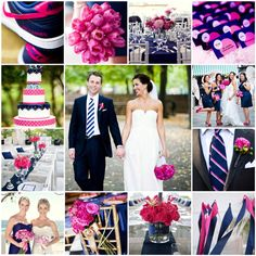 Prep pink and navy wedding idea collage