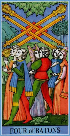 Four of Wands - Dame Fortune's Wheel Tarot by Paul Huson.