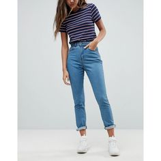 Noisy May Mom Jean ($46) ❤ liked on Polyvore featuring jeans, blue, loose fit jeans, blue high waisted jeans, loose jeans, relaxed fit tapered leg jeans and tapered leg jeans