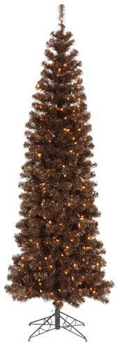 7.5' Sparkling Chocolate Brown Artificial Christmas Tree with Clear Lights