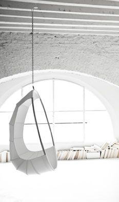 Bright white room.  indoor hanging chair