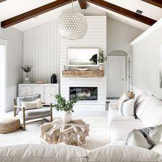 Shiplap Fireplace, White Fireplace, Bedroom Fireplace, Farmhouse Fireplace, Living Room With Fireplace, Fireplace Design, My Living Room, Fireplace Ideas, Cottage Fireplace