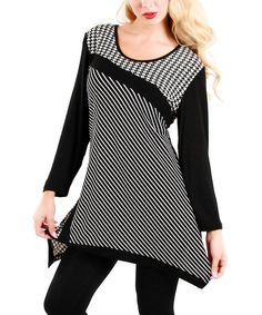 Look at this #zulilyfind! Black & White Stripe Sidetail Tunic by Lily #zulilyfinds