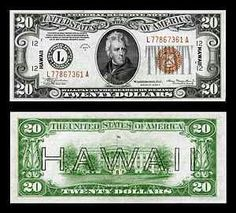 Hawaii overprint note is one of a series of banknotes (one Silver Certificate and three Federal Reserve Notes) issued during World War II as an emergency issue after the attack on Pearl Harbor. The intent of the overprints was to easily distinguish US currency captured by Japanese forces in the event of an invasion of Hawaii and render the bills useless.