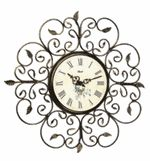 "Hermle Roses 21"" Decorative Wrought Iron Wall Clock 30897002100"