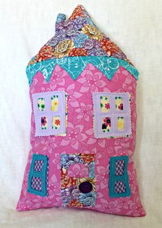 Pink House Pillow. $25.00, via Etsy.