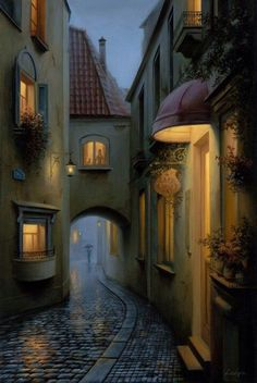 Olio su tela di Evgeny Lushpin... Oil on canvas by Evgeny Lushpin... #OilPaintingScenery