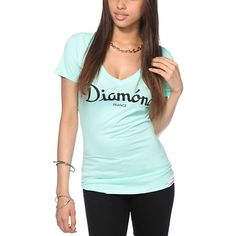 Say bonjour to a fresh look with the Diamond France script graphic printed on the front of a slim fit t-shirt with a flattering deep v-neckline.