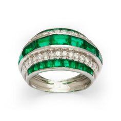 Emerald Diamond Ring by Rene Boivin