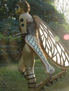 Beautiful Homemade Golden Grasshopper Costume Inspired by Cirque du Soleil