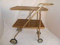 Vtg Mid Century Retro Rid Jid Folding Serving Bar Tea Cart 2 Teak Slat Trays
