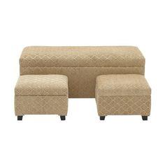 3 Piece Upholstered Storage Bedroom Bench Set