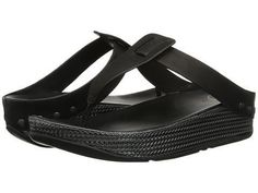 FitFlop Ibiza Black Leather Thong Sandals Pewter Weave Size 10 Worn Once #FitFlop #Ibiza