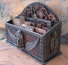 Altered letter holder. Steampunk style.  Starrgazer creates,