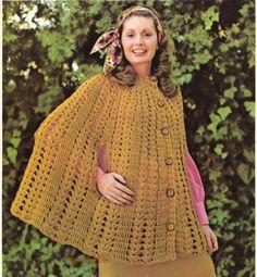 Crochet Cape Pattern PDF by suerock on Etsy Knitted Cape Pattern, Crochet Poncho Patterns, Crochet Shawl, Crochet Lace, Free Crochet, Crochet Hook Sizes, Crochet Hooks, Ladies Poncho, Mode Hijab