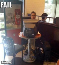 They call it fail.  I call it awesome.  I also might have done something like this when I wanted to work in the conference room...and make a point to a coworker who complained about only being able to work in the conference room if you have a laptop.