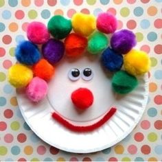 75 Paper plate crafts for kids with pictures. Kids crafts with paper plates for every occasion: animals, hats, activities, holidays, masks and much more! Kids Crafts, Clown Crafts, Paper Plate Crafts For Kids, Daycare Crafts, Craft Activities For Kids, Toddler Crafts, Preschool Crafts, Projects For Kids, Arts And Crafts