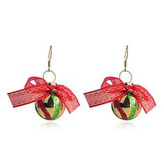 European Style Sweet Bowknot #Christmas Ball-Shaped   Gold Plating Earrings
