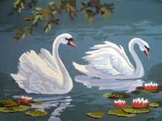 Oil Paint by Numbers - Swans -  (My Grandmother painted a series of these.)