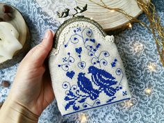 This cute coin purse is hand embroidered with cotton floss on linen canvas. Embroidery is made on pouch's both sides and bottom. The embroidery is complemented by shiny beads, which makes the purse look festively and smartly. Valentine Day Gifts, Valentines, Cute Coin Purse, Frame Purse, Blue Purse, Folk Fashion, Wooden Rings, Anne, Nordic Style